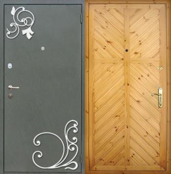 металлические двери с порошковым напылением с двух сторон с ковкой