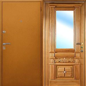 входная дверь с порошковым напылением с зеркалом